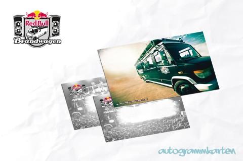 Autogrammkarten für den Red Bull Brandwagen